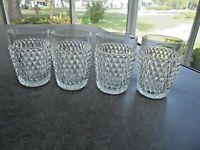 "Set of 4 Indiana Glass Diamond Point 10 oz. Flat Tumblers 4 1/2"" Tall"