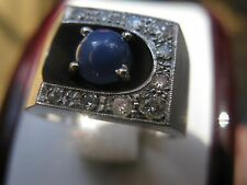 Vintage 10k Solid White Gold And Diamond Blue Star Sapphire Ring Shadow Setting