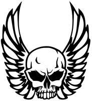 Aufkleber Skull mit Flügel, Auto, Motorrad ,Oldschool, Kult, Reto 24X30cm!