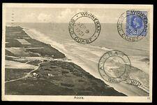 Gold Coast 1921 PPC Accra beach fine WINNEBAH postmark on 2½d to Italy