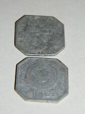 LOT 2 ALSACE FRANCAISE ville de THANN 10 centimes 1918 jeton de NECESSITÉ ALU