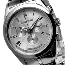 CERRUTI MENS TRADIZIONE SWISS CHRONOGRAPH SS WATCH NEW SILVER CT67071X403021