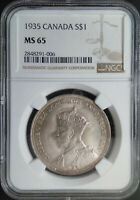 :1935 SILVER DOLLAR GEORGE-V S1$ CANADA KM# 30 LOW-POP NGC MS-65 HIGHEST-GRADES