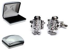 Retro Robot ScFi Space Moving Parts Cufflinks + Quality Chromed case  XDCB+AJ858