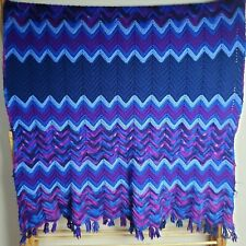 Vintage Crochet Chevron Striped Afghan Grandma Blanket Handmade 43x57 Twin Throw