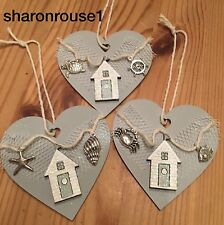 Nautical Hanging Decorations X 1 Shabby Chic Wood Heart Metal Embellishment Grey