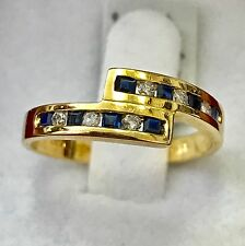 14k Solid yellow gold Natural  Diamond & Sapphire bypass ring 0.30 ct size 6.5
