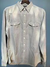 $225 RRL Ralph Lauren Washed Indigo Cream Striped Twill Work Shirt-MEN- XL