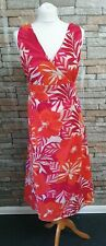 MARKS & SPENCER RED MULTI SLEEVELESS SUMMER DRESS 100% COTTON SIZE 20L REF 35