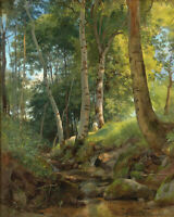 The Brook Ivan Shishkin Forest Landscape Fine Art Print on Canvas Repro 8x10 SM