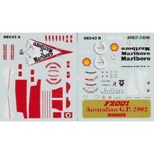 STICKERS BBR DEC 43 A B F1 2002 FERRARI F2001 WINNER AUSTRALIAN GP - 1/43