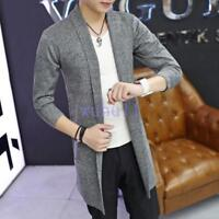 Men's Korean Chic Long Cardigan Slim Dust Coat Trench Jacket Cloak Coat Overcoat