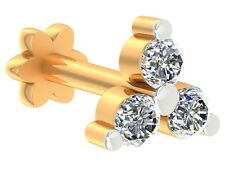 Certified Diamond Yellow Gold plated 925 sterling silver Three Stone Nose Pin
