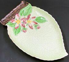 "Vintage Carlton Ware APPLE BLOSSOM Green Leaf Dish Pink Flowers Australian 7"""