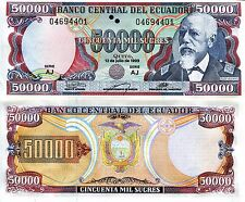 ECUADOR 50000 Sucres Banknote World Paper Money UNC Currency BILL Pick p130 1999