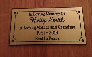 Brass Effect Personalised Engraved Memorial Bench Plaque