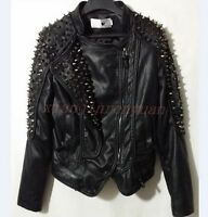 Punk Cool Womens Motorcycle Coat Slim Fit Rivet Spike Studded PU Leather Jacket