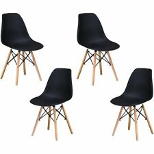 "Best Master Furniture Mickey 17.5"" Plastic Dining Chair in Black (Set of 4)"