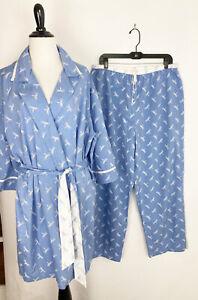 Womens Pajama PJ Set Size Large - Blue Dragonfly Print Robe & Loungewear Pants L