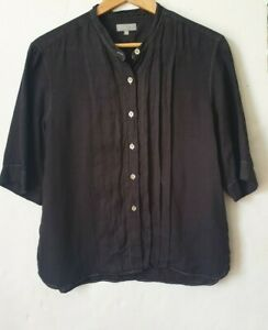 Margaret Howell Linen (100%) grey pleated blouse shirt, size 14