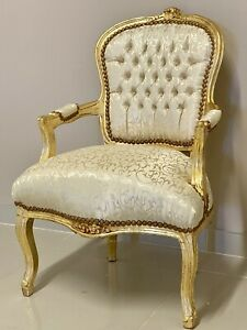 French Louis Style Shabby Chic Chair Light Gold Damask Fabric with Gold Frame
