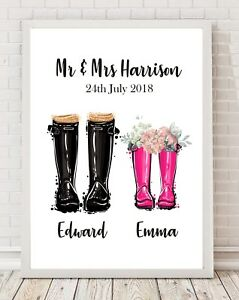 Personalised Wedding Gift Mr and Mrs A4 Poster Print PO160