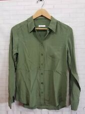 187 Equipment Green Silk Buttodown Blouse Womens Size Small