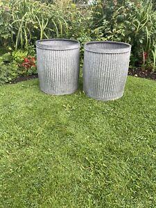 PairLarge vintage style galvanised metal grey round dolly tub garden New Design