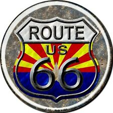 "Route 66 Arizona Flag 12"" Round Metal Sign Novelty Retro Home Wall Decor"