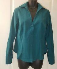 HARVE BENARD Sz Petite Medium Green Long Sleeve Button Top Blouse F2