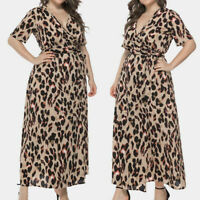 Women Sexy V-Neck Plus Size Leopard Print Short Sleeve Evening Party Long Dress