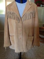 Denim & Co. Tan Western Woman's Plus Size Fringe Jacket, Size 3X, Suede,