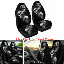 Polyester fiber 2Pcs Car Seat Cover 3D Skull Printing For Interior Accessories