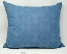 """Sky Ines Piece Dyed Foulard Embroidered Decorative Throw Pillow 16"""" x 20"""" - Blue"""