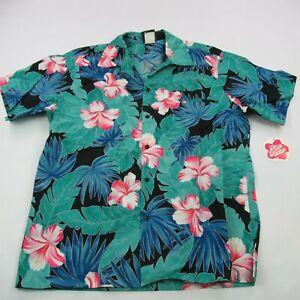 1970s Hilo Hattie/'s Polyester Hawaiian Shirt Lotus Flower Button Front Men/'s Vintage XL