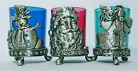 Christmas Pewter Votive Candle Holders Set of 3 Blue Green and Red