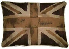 Union Jack Brown & Beige Flag Oblong Woven Tapestry Cushion Cover