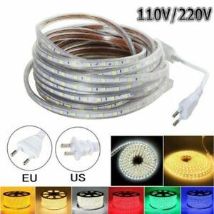 Waterproof 110V 220V 5050 LED Flexible Tape Rope Strip Light Xmas Outdoor 1- 20M