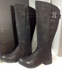 NEW VERY VOLATILE Knee Length Boots Size 7 1/2 Black Long Zip Faux Leather Shoes