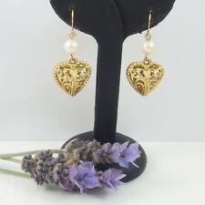 Filigree Puffy Heart Dangling Drop EARRINGS Faux Pearl Ear wire Hook Gold tone