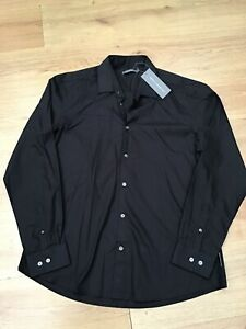 """MENS BLACK  LONG SLEEVE SHIRT BY FRENCH CONNECTION SIZE XL 48"""" CHEST BNWT"""