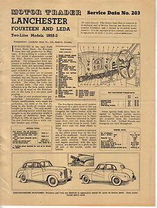 Lanchester 14 Fourteen & Leda 2 Litre models 1952-3 Motor Trader Service Data