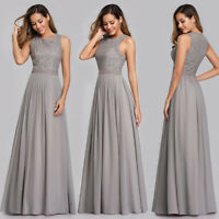 Ever-Pretty Vintage Lace Neck Long Bridesmaid Dress Chiffon Evening Prom Gown UK