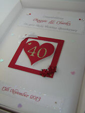 Personalizzata Ruby quarantesimo anniversario matrimonio carta, cristalli SWAROVSKI, inscatolato