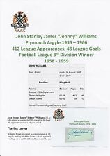 JOHNNY Williams Plymouth Argyle 1955-1966 RARA Originale Firmato a Mano Taglio/Card