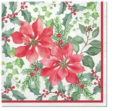 Christmas 20 Paper Lunch Napkins  Beautiful Poinsettia Decoupage SDL015300