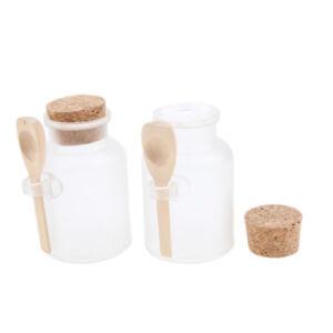 2x Cork Jar Cosmetic Wood Spoon Round ABS Bottle Bath Salt Bottle Container