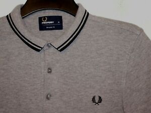 Fred Perry stretch fit twin tipped polo shirt small collar M6273 M medium F243