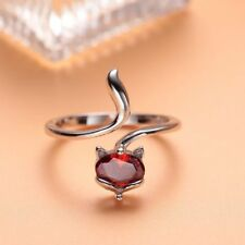 Ring Amethyst Garnet Rings Jewelry Fashion Women's Silver Plated Adjustable Fox