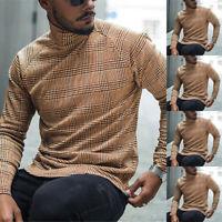 Mens Casual Winter Warm Plaid Turtleneck Pullover Sweater Jumper Top Sweatshirt